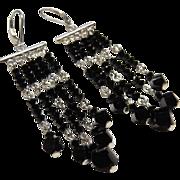 Long Sterling Crystal Dangle Earrings