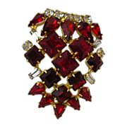 Ruby Red Rhinestone Brooch