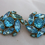 SALE Blue Rhinestone Clip-on Earrings