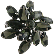 Smokey Black Rhinestone Brooch/Pin