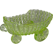 SOLD Vaseline Glass Cart Bowl