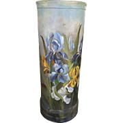 Victorian Hand Painted Umbrella Stand Flowers Lilies Composition