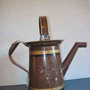 Antique 19thC Primitive Tinware Old Tin Tole Painted Victorian Watering Can Pitcher