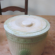 Huge Antique Yellow Ware Stoneware Butter Crock Org. Lid circa 1880-1920 BRUSH MCCOY