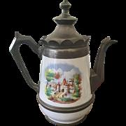 19th C Graniteware w/ Pewter Coffeepot / Teapot CASTLE
