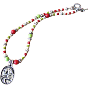 Pewter Horse Pendant Choker Necklace with Red Coral, Green Howlite & Picasso Czech Glass