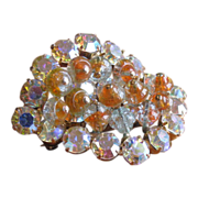 SALE DeLizza & Elster Rhinestone and Crackle Glass Brooch