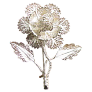 Vintage Sterling Silver Filigree Lace Work Flower Brooch