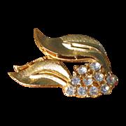 Vintage Brushed Goldtone and Rhinestone Leaf Brooch