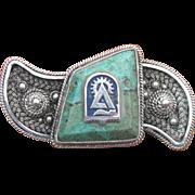 SALE Vintage Israeli Bezalel Turquoise Sterling Silver Pin Brooch with Technion Emblem