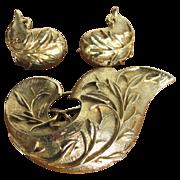 Vintage Sarah Coventry Golden Brocade Brooch & Earrings Set