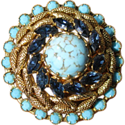 SALE Vintage Rhinestone & Blue Art Glass Layered Brooch