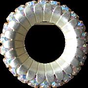 Vintage Brushed Goldtone Circle Brooch with AB Rhinestones