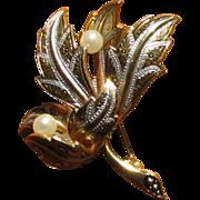 Vintage Damascene Figural Leaf & Simulated Pearl Brooch