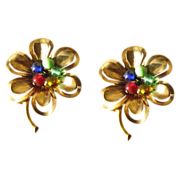 SALE Vintage 1940's Brass and Glass Flower Brooches - Set of 2