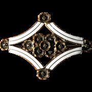 Vintage Art Deco Brass, Enamel and Marcasite Brooch
