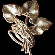 SALE Vintage Carl Art Sterling & Rhinestone Leaf Brooch