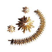 Vintage 1970's Avon Starflower Demi Parure with Bracelet, Brooch & Earrings