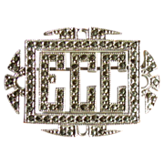 SOLD Art Deco Sterling Silver & Marcasite Monogrammed Pin Brooch