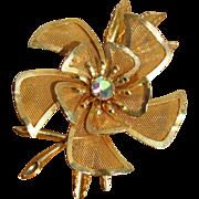 Vintage Goldtone Framed Mesh & Rhinestone Flower Brooch