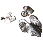 SALE Vintage Carl Art Sterling Silver Etched Leaf Brooch & Earrings Set