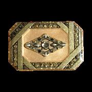 Vintage Pierre Bex Art Deco Style Enamel & Rhinestone Brooch
