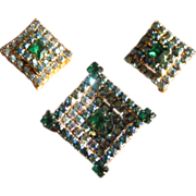 Vintage Green Aurora Borealis Rhinestone Brooch & Earrings Set