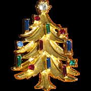 Vintage 1960's / 1970's Mamselle Rhinestone Christmas Tree Brooch