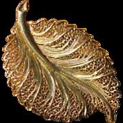 Vintage Filigree Sterling Silver Leaf Brooch - Topazio, Gold Washed