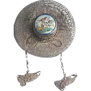Vintage Silvertone Filigree and Porcelain Figural Hat Brooch with Dangling Shoes