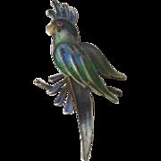 Vintage 800 Silver Filigree and Enamel Figural Parrot Pin