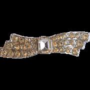 Vintage Rhinestone Bow Brooch Pendant