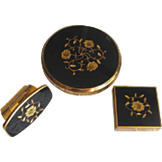 SALE Vintage 1960's KIGU of London Black and Gold Floral Compact Set