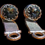 SALE Mid Century Shields Gray Blue Glass Rivoli Stone Mesh Cufflinks