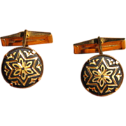 SALE Vintage Toledo Spain Damascene Star Cufflinks