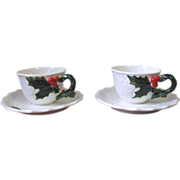 SALE Vintage 1970 Lefton Holly Berry Cup and Saucer Set - Set of 2