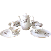 Vintage Purple and Gray Luncheon Set with Teapot - 11 Piece