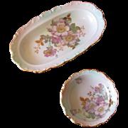 SALE Vintage Schumann Bavaria Porcelain Floral Celery Dish Nut Bowl Set