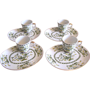 Mid Century Teacup & Snack Plate Sets in Blue, Yellow and Green Floral