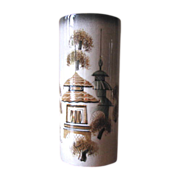 Vintage Sascha Brastoff Asian Theme Pagoda Vase in Black, Green & Gold