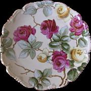 Antique Rose Floral Porcelain Plate Signed Heinz