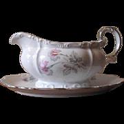 SALE Vintage 1940's Edelstein Bavaria Gravy Boat - Silver Trim with Pink & Gray Florals