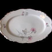 Vintage 1940's Edelstein Bavaria Serving Platter - Silver Trim with Pink & Gray Florals