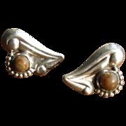 SALE Vintage 1930's Mexican Silver Heart Earrings