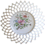 SALE Vintage 1950's Westmoreland Lattice Milk Glass Bowl with Floral Motif