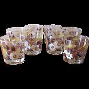 Vintage 1970's Libbey Rocks Glasses Autumn Daisy - Set of 8