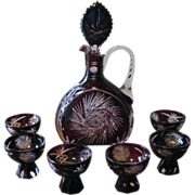 Vintage 1920's Cut to Clear Aubergine Crystal Decanter Set Germany