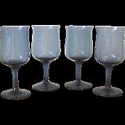 Vintage London Blue Wine Glasses - Set of 4