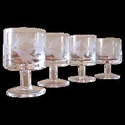 SALE Vintage Hand Blown Floral Etch Cordial Glasses - Set of 4