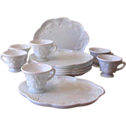 Mid Century Colony Harvest Grape Vine Milk Glass Tea & Snack Sets - Service for 6